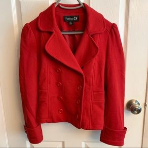 Forever21 red pea coat